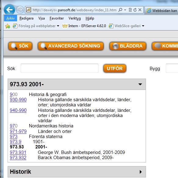 Skärmdump från WebDewey på 973.9